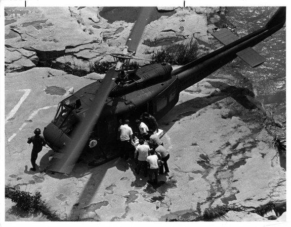 Niagar River - Rescues<br /> Helicopter rescues person at the river's edge at the Whirlpool area. Parks Police have details.<br /> Photo - By John Kudla - 6/21/1986.