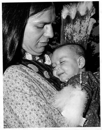 Indian Defense League<br /> Free Border Crossing<br /> Future Indian Princess<br /> Keeya Greene - 4 1/2 Mos old of Tuscarora Reservation.<br /> Daughter of MM Orville Greene of Tuscarora Reservation.<br /> Note: Pierved Earing.<br /> Photo - By Andrew J. Susty - 12/21/1979.