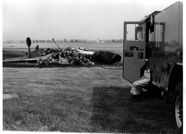 Armed Forces - Air National Guard<br /> 107 th Fighter Interceptor Group. <br /> Crash of F 101 Voodoo where Major Richard M. Kyle and Major Edward J. Szatanek were killed.<br /> Photo - By Niagara Gazette - 6/9/1979.