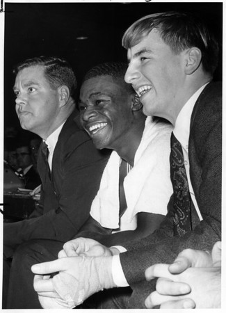 Sports - Baseball<br /> From left to right - Ed Donohue, Calvin Murphy, and Mike Brown.<br /> Photo - By Niagara Gazette - 12/3/1966.