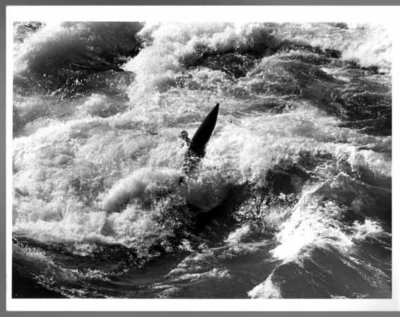 Niagara River, Kayaks, Unidentified Kayaker in the rapids between the whirlpool and bridge. Ron Schifferle 10/16/1987.