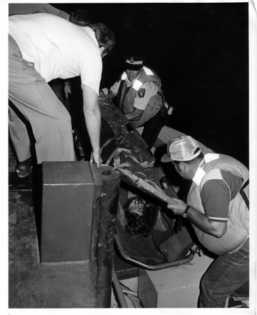 Niagara River - Rescues<br /> Cheryl Alva on stretcher.<br /> Photo - By John Kudla - 7/21/1982.