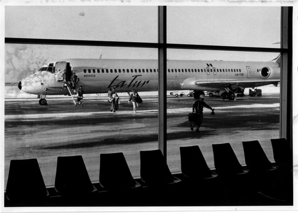 Transportation - LaTur<br /> Niagara Falls International Airport.<br /> LaTur MD 80 (a charter) arriving from Mexico.<br /> Photo - By Ron Schifferle - 2/26/1990.