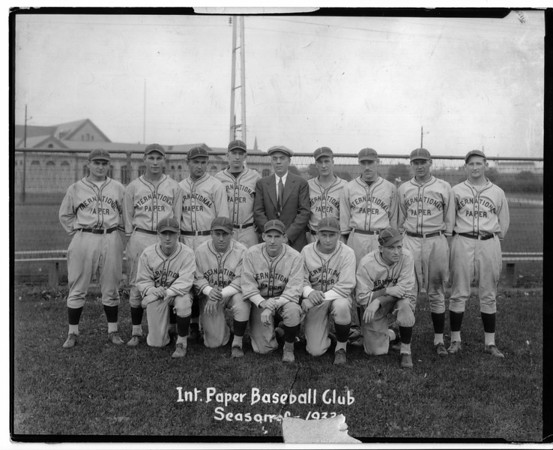 Sports - Baseball<br /> Front Row: Banks, Sam Caponella, Tom Weiss, Mike Taczak, Bob Troupe.<br /> Back Row: Paddy Mitchell, Harold Mitchel, Joe Petti, Bill Carr, Fred Potter, Mut Krum, Lipty Hayne, George Taugh, and Andy Taczak.<br /> Photo - By Niagara Gazette - 1932.