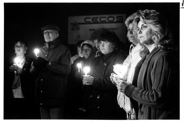 Industries - Cecos<br /> Concerned citizens, opposong Cecos' expansion, gather at edge of Cecos propert at 56th Street and Niagara Falls Blvs. for a candle light vigil. At far right is Anitia Fama.<br /> Photo - By Lisa Massey - 3/29/1988.