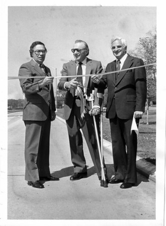 Streets - Niagara Falls<br /> Robert Moses Parkway - reopening<br /> From left to right Mario Pirastru, Orin Lehman, and Jack A. Gellman.<br /> Photo - By L. C. Williams - 5/16/1980.