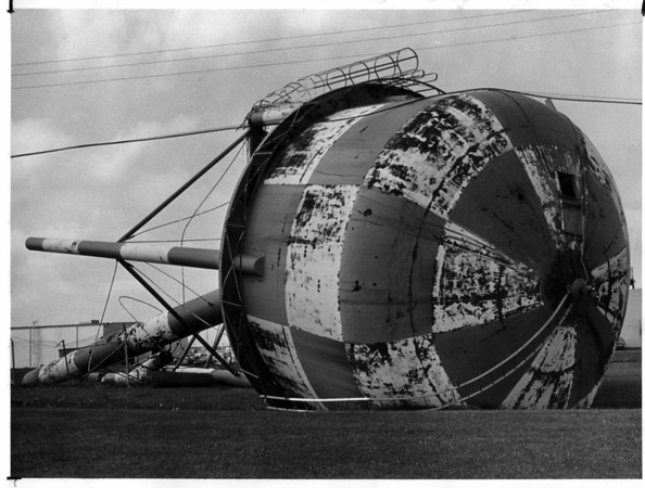 Armed Forces - Air Force Base<br /> Fallen Water Tower.<br /> Photo - By John Kudla - 8/3/1979.