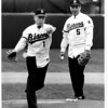 Baseball - First Pitch<br /> First pitch of the ball game.<br /> from left to right-<br /> Mayor James Griffin waiting his turn is Gov. Mario Cuomo.<br /> Photo - By Ron Schifferle - 4/14/1988.
