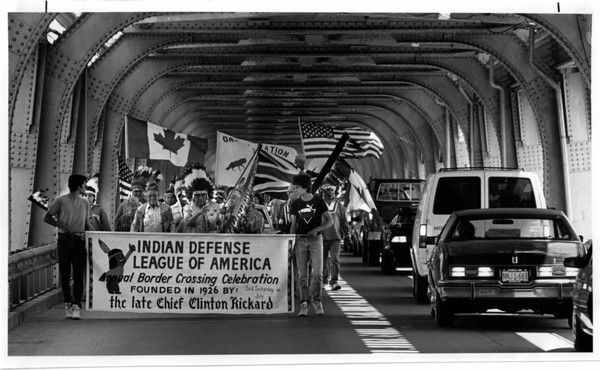 Bridges - Whirlpool<br /> Indians cross Border with no hastles at the Whirlpool Bridge.<br /> From left to right Chris Hill, Harry Hill, Executive Chairman of Indian Defense League, from 6-Nations, and Clint Hill.<br /> Photo - By James Neiss - 7/14/1989.