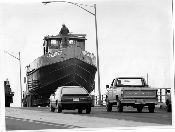 Niagara River - Ice Breakers<br /> The New York Power Authority ice breaker. The Breaker is Moving South on Hyde Park Blvd in traffic.<br /> Photo - By Ron Schifferle - 11/28/1989.