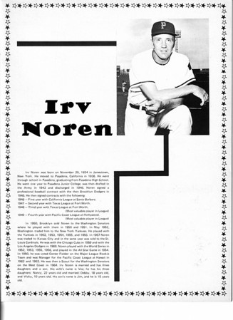 Sports - Baseball<br /> Irv Noren<br /> Niagara Falls Baseball Souvenir and Score Book.<br /> 1970.