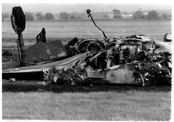 Rmed Forces - Air National Guard<br /> 107th Fighter Interceptor Group, Air National Guard.<br /> Crash of F 101 Voodoo where Major Richard M Kyle and Major Edward J. Szatanek were killed.<br /> Photo - By Niagara Gazette - 6/9/1979.