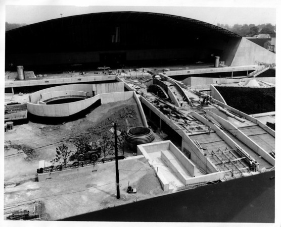 Convention Center - Construction<br /> Construction on the convention Center Plaza.<br /> Photo - By Martin Algian - 7/8/1975.
