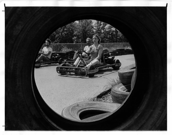 Go Carts - Charlie's Go Carts<br /> Charlie's Go Carts 2460 Niagara Falls Blvd.,Sanborn.<br /> Dave Campbell, charlie Morthe, and Carolyn Morthe.<br /> Photo - By Dan Shubsda - 6/14/1980.