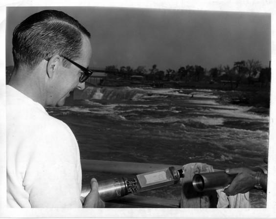 Niagara Falls - Remedial Work, 1966<br /> Bob Barnett<br /> Photo - By Niagara Gazette - 5/26/1966.