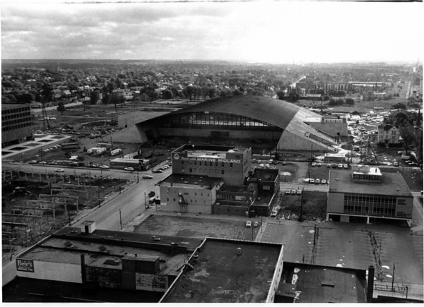 Convention Center<br /> Niagara Falls (city) Aerial View<br /> Photo - By L. C. Williams - 8/22/1973.