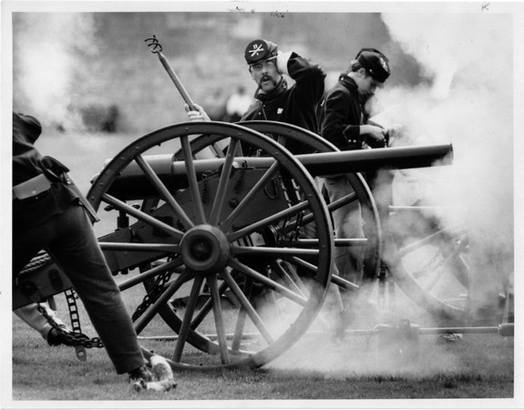 Old Fort Niagar - Artillery School<br /> Soldiers from Battery B, light artillery, 3rd Penn volunteers, from Boatsburg, PA., fire a cannon at Artillery school held at Fort Niagara.<br /> Photo - By Elisa Olderman - 5/3/1992.