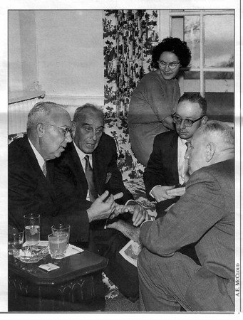 Spieler<br /> Spieler, second from right, and his wife, Faye, attend a high level discussion at the Niagara project in 1962. From the left are state Assemblyman Ernest Curto of Niagara Falls; Robert Moses, Power Authority chairman; and William Chapin, the Authority's general manager.
