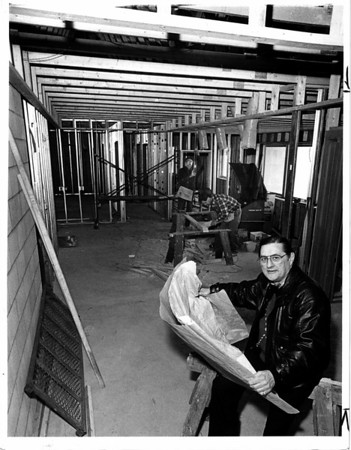 Buildings - SPCA<br /> Al Chille Executive Director of th Niagara County SPCA sits in what will be the front lobby.<br /> Photo - By James Neiss - 2/26/1988.