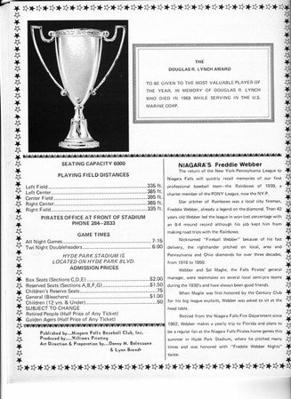 Sports - Baseball<br /> The Daouglas Lynch Award.<br /> Niagara's Freddie Webber<br /> Niagara Falls Baseball Souvenir and Score Book.<br /> 1970.