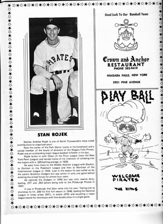 Sports - Baseball<br /> Stan Rojek<br /> Niagara Falls Baseball Souvenir and Score Book.<br /> 1970.