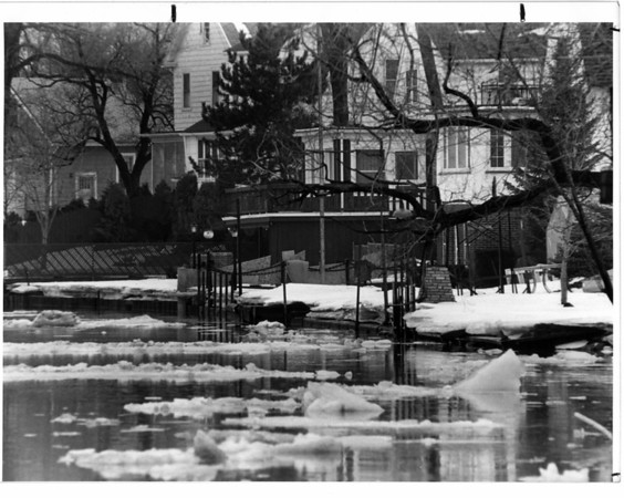 Niagara River - River Road<br /> A view of the Niagara River from the back of the houses on River Road<br /> Photo - By James P. McCoy - 2/22/1985.