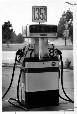 Gas Stations - Niagara Falls<br /> Gasoline pumps reflect raised prices on Buffalo Ave Gulf Station.<br /> Photo - By Elisa Olderman - 8/11/1990.