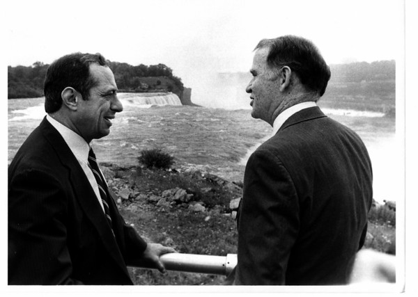 Parks - New York State Power Authority.<br /> Gov. Mario M. Cuomo and Richard Flynn Chairman of the New York State Power Authority.<br /> Photo - By Ron Schifferle - 7/15/1985.