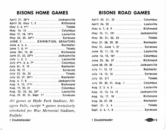 Sports - Baseball<br /> 1968 Schedule for the Bisons.<br /> 1968