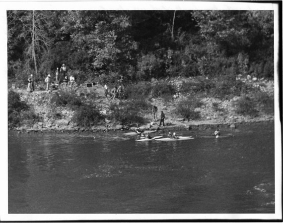 Niagara River, Kayak, Safe at the bank of the Whirlpool. Oct 14, 1981