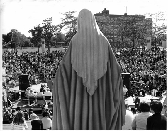 Convention Center Plaza<br /> The statue of the Virgin Mary overlooks the crowd that attended the Rosary Crusade.<br /> Photo - By Andrew J. Susty - 9/20/1982.