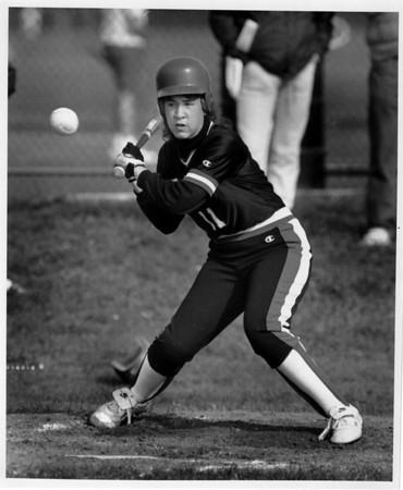 Sports - Girls Softball<br /> Liz Johnson of Niagara Wheatfiel ready to swing at the ball at a game against North Tonawanda.<br /> Photo - By Elisa Olderman - 5/9/1991.