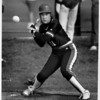Sports - Girls Softball<br /> Liz Johnson of Niagara Wheatfiel ready to swing at the ball at a game against North Tonawanda.<br /> Photo - By Elisa Olderman - 5/9/1991.