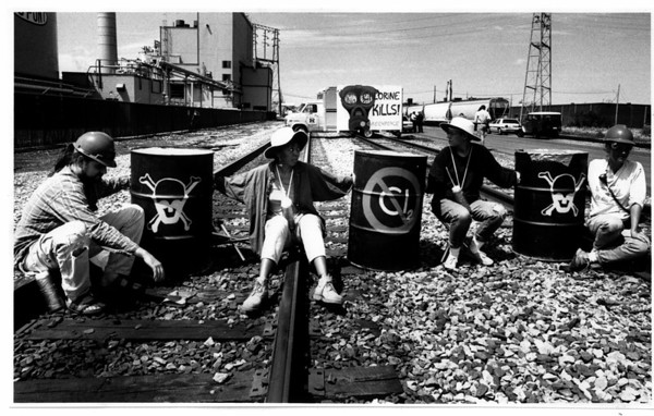 Toxic Wate - Green Peace<br /> Green Peace members chained themselves to railroad tracks near Dupont.<br /> From left to right: Craig Stevens of Hamilton, Pat Chastans of Rochester, Cindy Baldassi of Hamilton, and Helen Previer of Seattle.<br /> Photo - By Ron Schifferle - 7/26/1991.