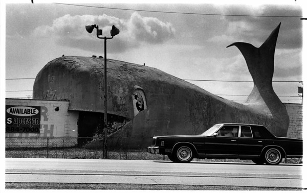 Streets - Memorial Highway<br /> Blue Whale at Young Street and Memorial Highway in the City of Tonawanda.<br /> Photo - By Ron Schifferle - 4/9/1985.