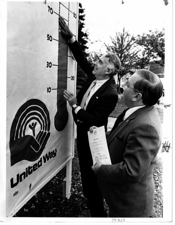 Parades - United Way<br /> United Way Week.<br /> From left to right Mayor Michael O'laughlin and Frank Betlino.<br /> Photo - By Ron Schifferle - 10/22/1984.