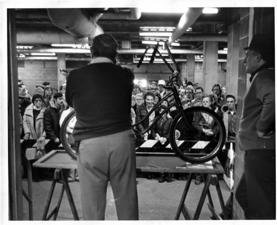 Police - Niagara Falls Police Dept.<br /> Bicycle Auction <br /> Photo - By L. C. Williams 2/24/1979.
