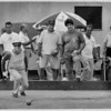 Convention Center Plaza<br /> From left to right - Dino Ceccato of pendleton, throws the Bocce Balls, during a game with other lockport residents. The Power City Lodge had a hand in building these Bocce courts near the Italian Festival at E. Dent Lackey Plaza. Residents of Niagara Falls, Canada, Niagara Falls, USA and Lockport participated.<br /> Photo - by Elisa Olderman - 7/7/1991.