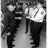Police - Niagara Falls Police Dept. Inspections.<br /> Detective Frank Coney, 21 years on the force is inspected by Inspector James Galie.<br /> From Right to left James Gallie, Lt. Richard Clutie, Lt Russell Cerminara.<br /> Photo - By James Neiss 10/15/1988.