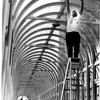 "Christmas - Festival of Lights<br /> ""Catch a Rainbow of Light""<br /> Richard N Raham of Grand Island a handy man for Occidental takes down lights in above ground walkway that connects Occidental's building, background and the Rainbow Mall.<br /> Photo - By Bob Bukaty - 1/4/1983."