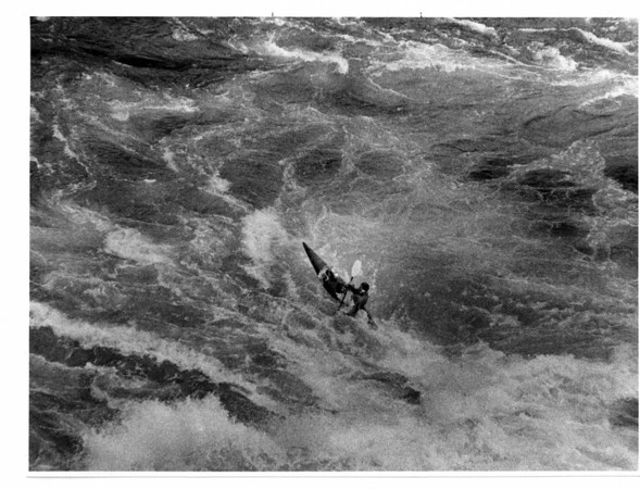 Niagara River, Stunters, Kayaks - Ron Schifferle Photo - 9/19/1987 - Kayaker, one of eight that run the Niagara Gorge. This one was in the whirlpool below the overlook at Whirlpoos State Park.