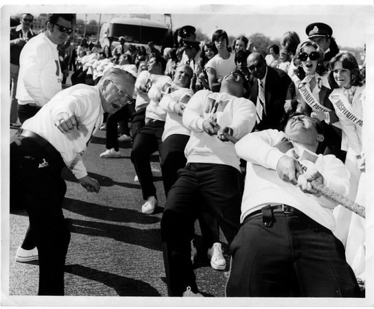 Blossom Festival Tug of War with Mayor Lackey cheering on- May 10, 1975