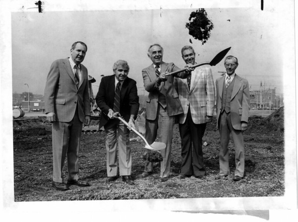 Parking - Parking Ramp<br /> Parking Ramp ground breaking ceremonies.<br /> From left to right Stanley Smith, Dominick Massaro, Mayor O'laughlin, Robert Sidley, and Pierre Tangent.<br /> Photo - By John Kudla - 5/1/1980.