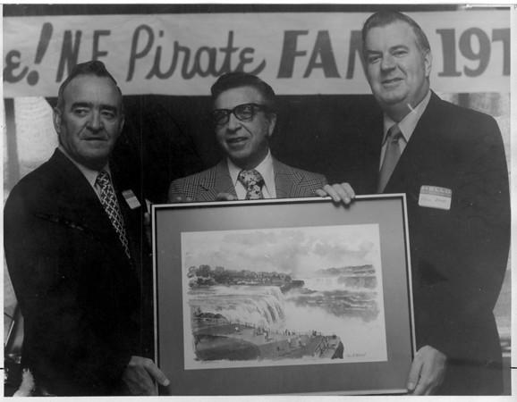 Sports - Baseball<br /> Danny Meurtaugh - Pittsburgh Pirates Manager.<br /> Tony Bax - Tops.<br /> Fred Bone - Niagara Falls Baseball Club President.<br /> Photo - By John Kudla - 8/23/1973.
