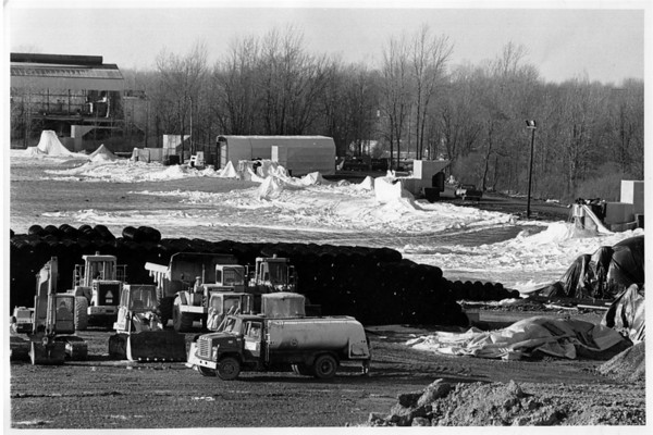 Industries - CWM Landfill<br /> At C.W.M. Landfill what is left of the bubble or dome.<br /> Photo - By Ron Schifferle - 1/3/1990.