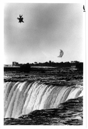 "Niagara Falls, Hot Air Balloons - Lisa Massey 8/21/1982 - ""Kiku"", upper left, and Children's Moon, are 2 of the Flying Sculptures created by Viennse Artist Andre' Heller."