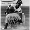 Sports - Baseball<br /> Sal Maglie Stadium<br /> Jose Mota tags out Jamestown Expos Tony Candelino at 2nd base in the 2nd inning.<br /> Photo - By James P. McCoy - 8/12/1985.