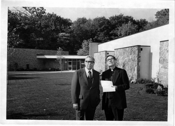Schools - Niagara University<br /> Buscaglia Castellanu Art Gallery.<br /> Armand Castellani and Rev. Gerald Mahoney.<br /> Niagara University - Deveaux Campus.<br /> New Arts Building.<br /> Photo - By Andrew J. Susty - 10/20/1978.