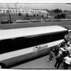 Parks - Buss Ride to Nowhere.<br /> Happy baseball fans board buss from the stadium grill on Hyde PArk Blvd. to attend the opening game of the Niagara Falls Rapids at Sal Maglie Stadium across the street.<br /> Photo - James Neiss - 6/16/1989.