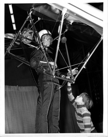 Convention Center - Bookings<br /> Anthony Vekich III - 9 years old of Niagara Falls views the Hang Glider.<br /> Photo - By Andrew J. Susty - 2/4/1978.